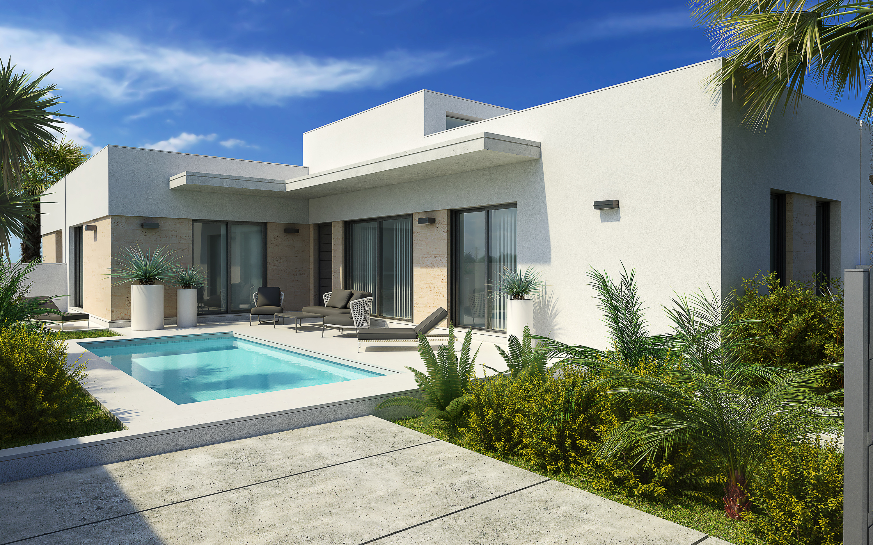 Lovely modern new build villas all one level for sale in a quaint village near the sea, Guardamar.