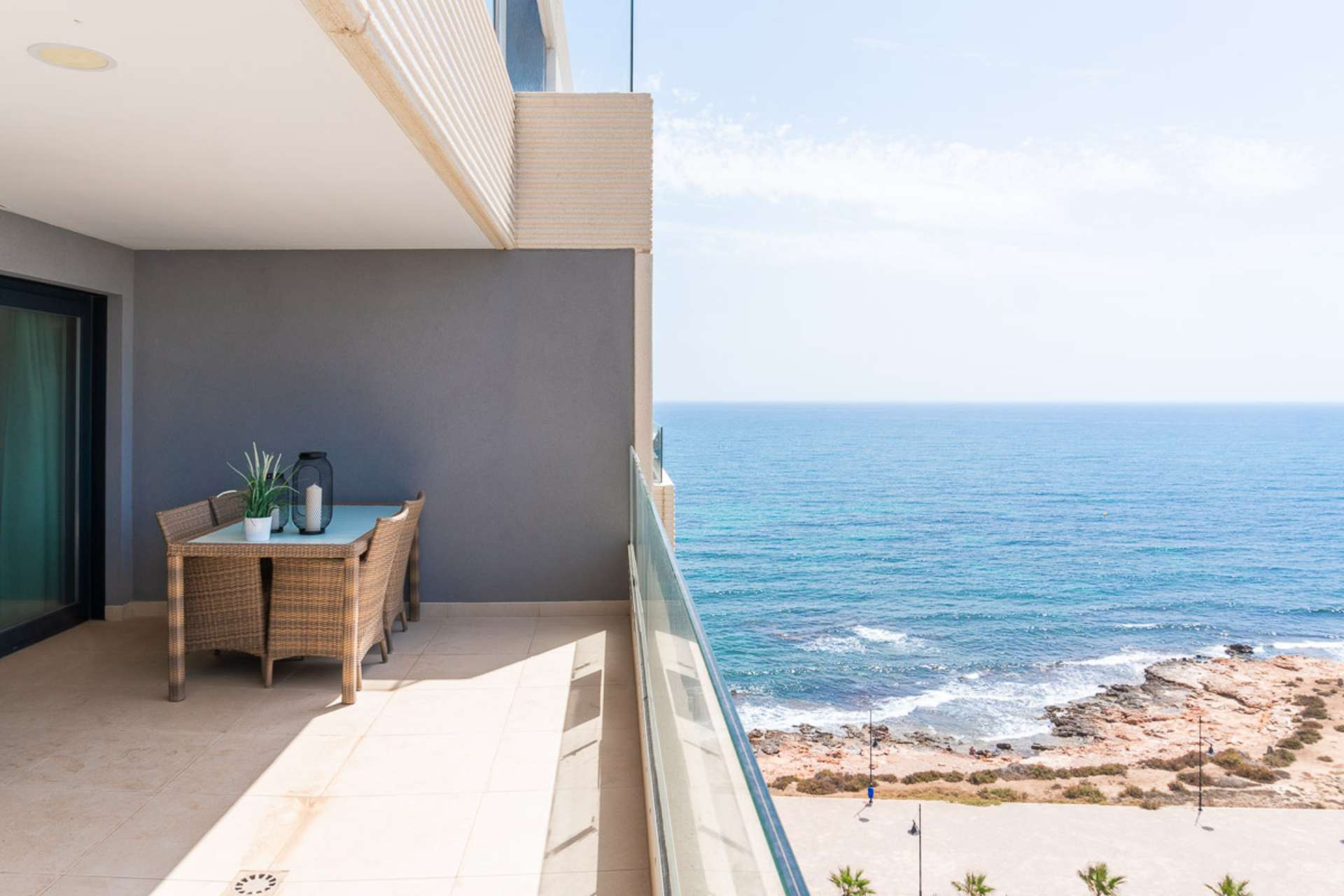 Stunning frontline south facing apartment for sale with sea views in Punta Prima.